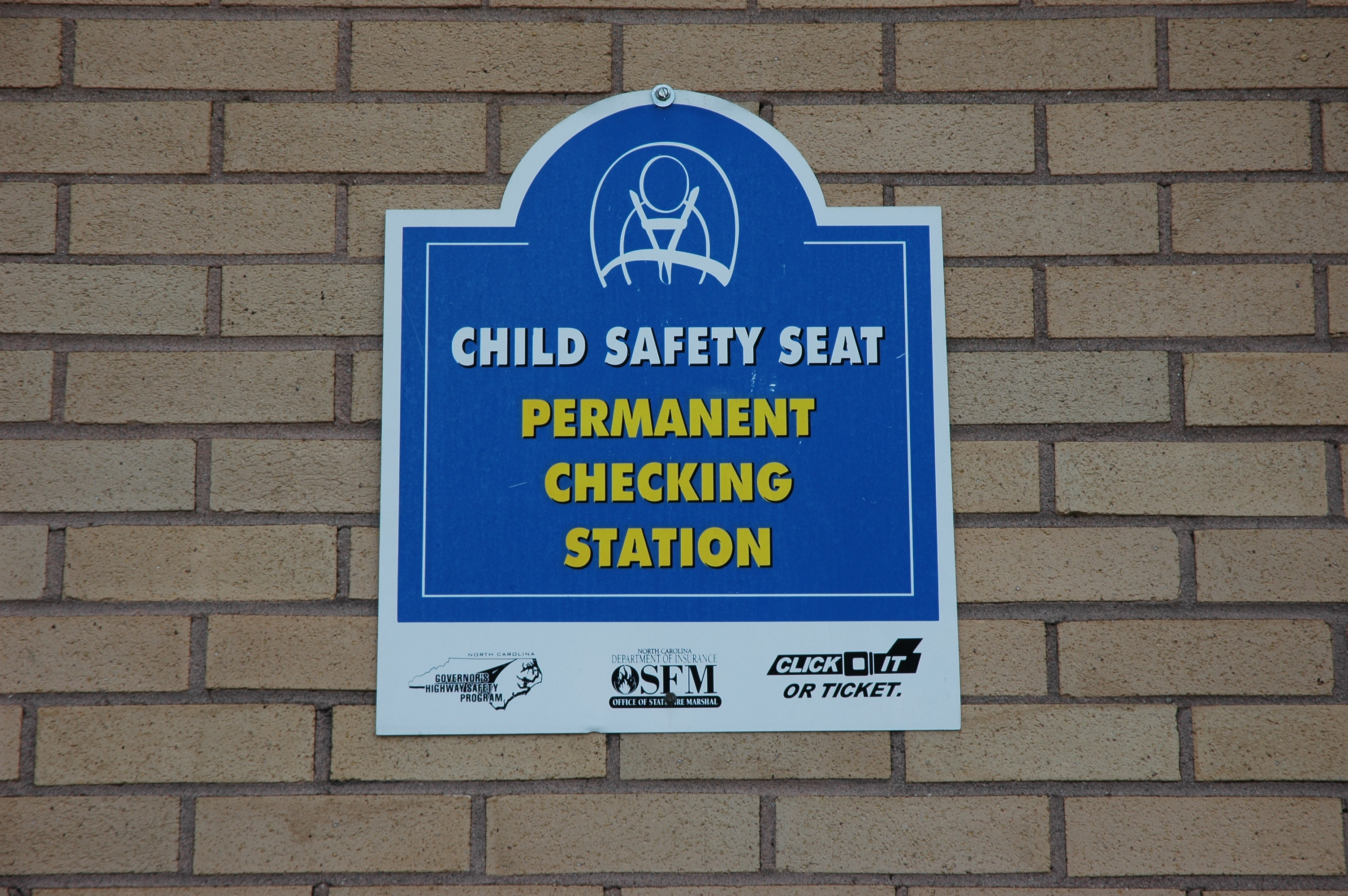 Child Passenger Safety Seat Permanent Checking Station Sign