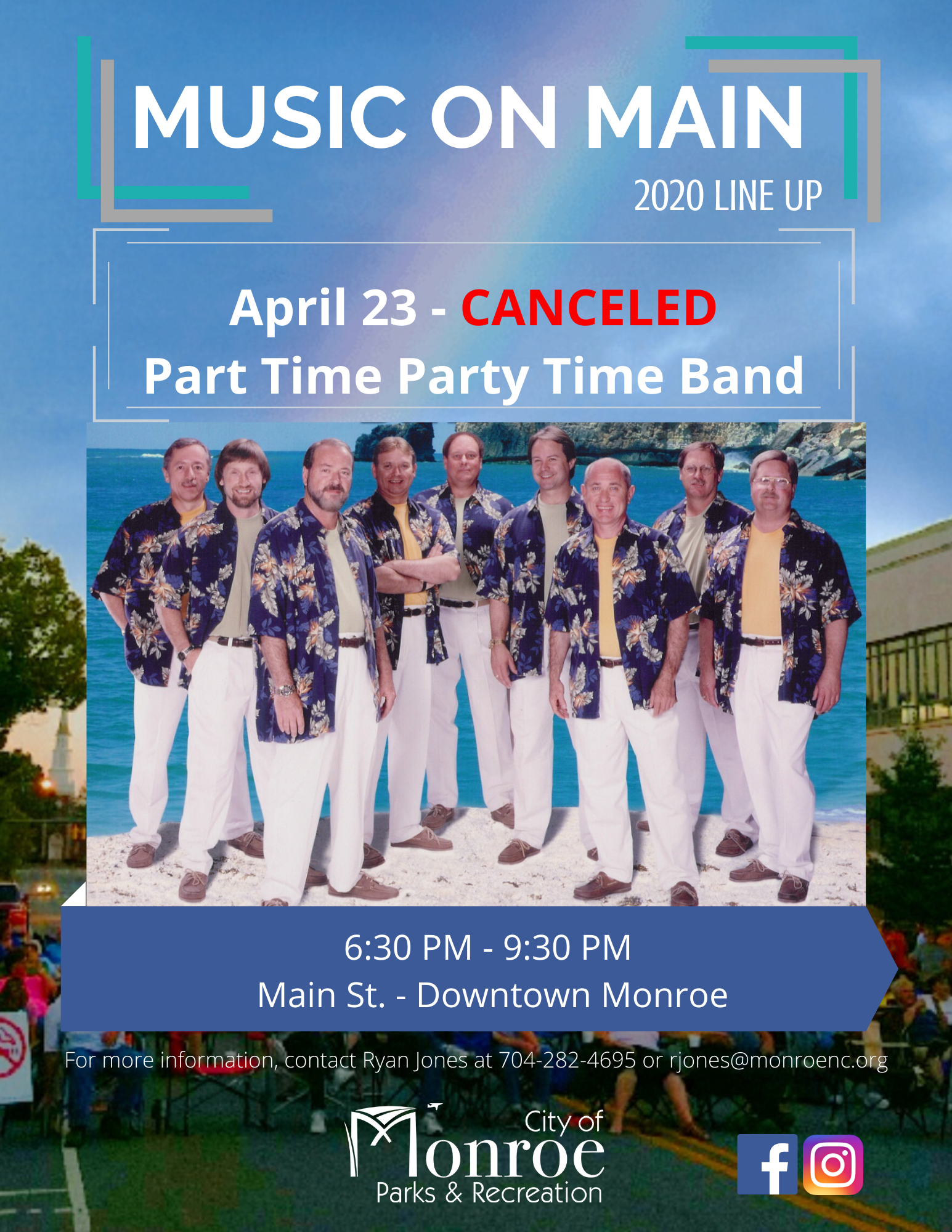 April 23rd Music on Main is canceled