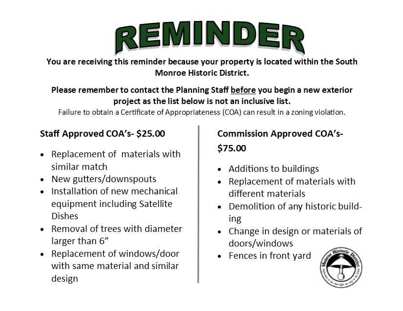 Historic District Reminder Postcard